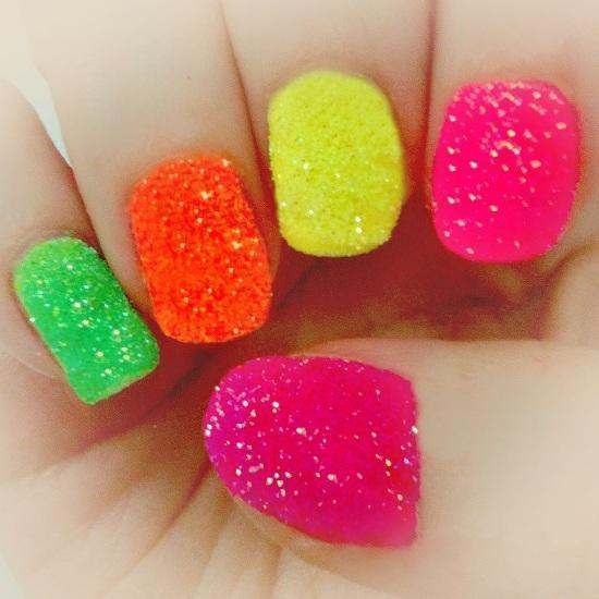 add texture to your neon nail polish