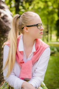 Woman with high ponytail